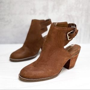 COLE HAAN Brown Leather Slingback Ankle Bootie Size 6